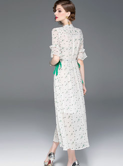 Floral Tie-collar Gathered Waist Hem Maxi Dress