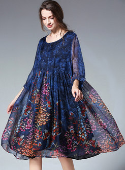 Plus Size Chiffon Print Shift Dress