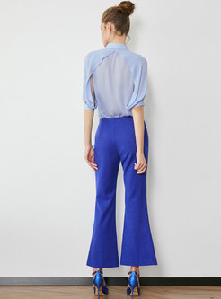 Lapel Half Sleeve Blouse & High Waist Flare Pants