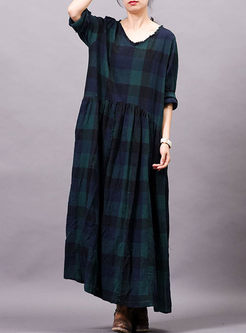 Long Sleeve Color-blocked Plaid Dress