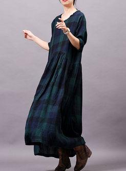 Long Sleeve Color-blocked Plaid Dress