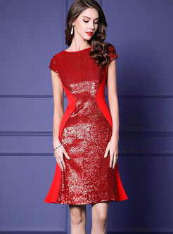 Fashion O-neck Sequined Waist Mermaid Dress