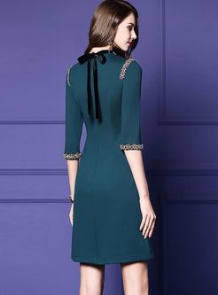 Elegant O-neck Beaded Waist Skater Dress