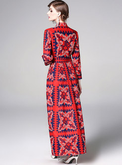 Vintage Print Turn-down Collar Pleated Maxi Dress