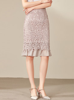 Pure Color Lace Chiffon Splicing Sheath Skirt