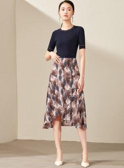 Trendy Asymmetric Color-blocked High Waist Skirt