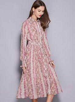 Casual Lapel Waist Big Hem Print Dress