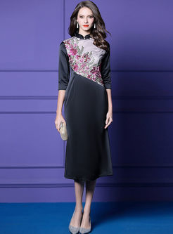 Mandarin Collar Embroidered Bodycon Dress