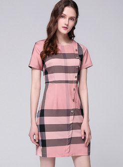Elegant Plaid O-neck Sheath Mini Dress