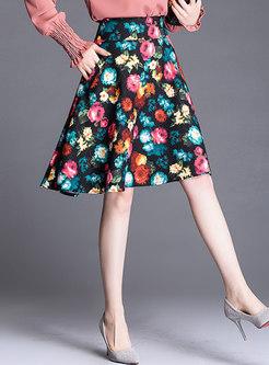Floral High Waist A Line Skirt