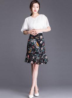 Chiffon Print High Waist Mermaid Skirt