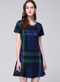 Casual Plaid O-neck Slim A Line Dress