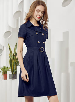 Work Notched Solid Color Skater Dress