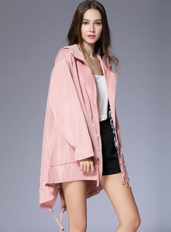 Solid Color Hooded Loose Trench Coat