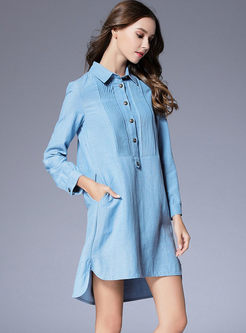 Single-breasted Shift Dress With Pocket