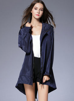 Casual Loose Hooded Slit Tied Trench Coat