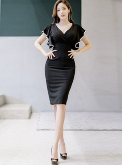 Sexy Deep V-neck Gathered Waist Sheath Dress