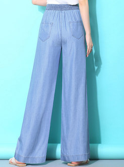 Casual Denim Elastic Waist Wide Leg Pants