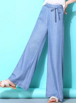 Casual Denim Elastic Waist Wide Leg Pants