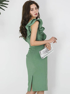 Elegant Solid Color Double-breasted Sheath Dress