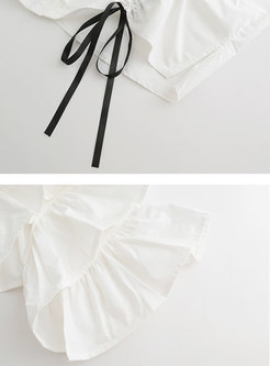 Chic White Lapel Flare Sleeve Tied Falbala Dress
