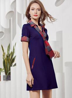 Color-blocked Lapel Plaid T-shirt Dress