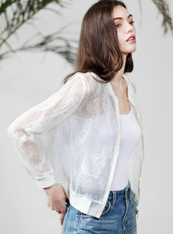 White Lace Organza Embroidered Silk Short Coat