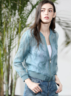 Embroidered Lace Slim Solid Color Coat