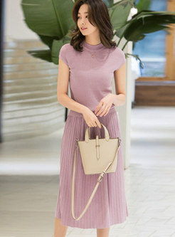 Stand Collar Slim Knitted Top & Pleated Skirt