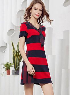 Fashion V-neck Ribbon Striped Skater Dress