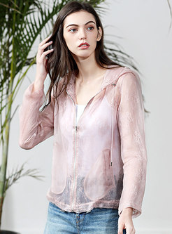 Pure Color Transparent Zippered Hooded Coat