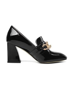 Stylish Square Toe Chunky Heel Drilling Leather Shoes