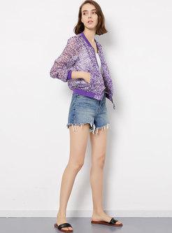 Transparent Print Standing Collar Zippered Jacket