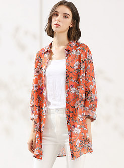 Stylish Floral Print Single-breasted Blouse