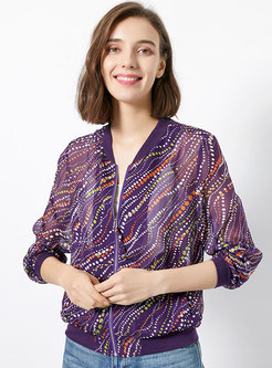 Multicolor Stand Collar Print Slim Jacket