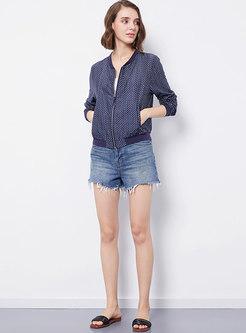 Blue Dot Slim Long Sleeve Jacket