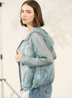 Perspective Embroidered Silk Hooded Coat