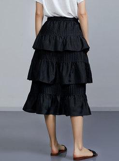 Black Multiple Flouncing A-line Long Skirt