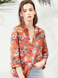 Chic Floral Print Turn-down Collar Bilouse