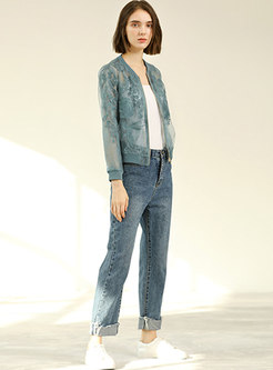 Pure Solid Embroidered Flower Perspective Coat