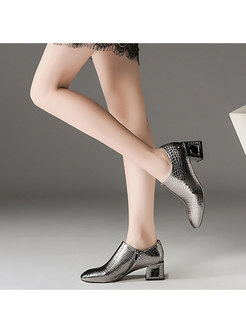 Chic Square Toe Chunky Heel Leather Shoes