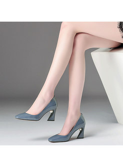 Genuine Leather Square Toe High-heel Shoes