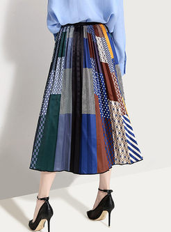 Stylish Plaid Splicing Print A Line Skirt