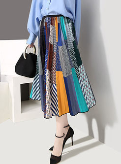 Stylish Plaid Splicing Print A Line Skirt