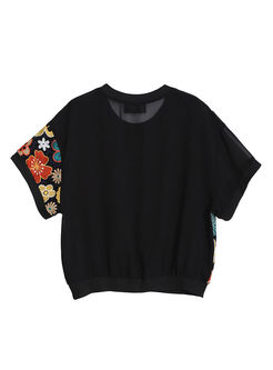 Casual O-neck Embroidered Pullover T-shirt