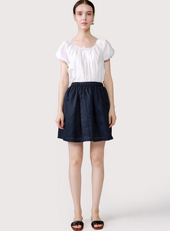 Brief Pure Color A Line Mini Skirt