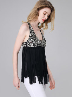 Stylish Tassel Patch Rivet Sleeveless Camisole