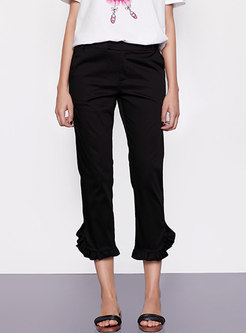 Fashion Black Slim Cotton Flare Pants