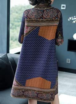 Three Quarters Sleeve Turtle Neck Loose Dress