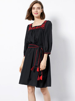 Embroidered Tassel Tied Squre Neck Ethnic Dress